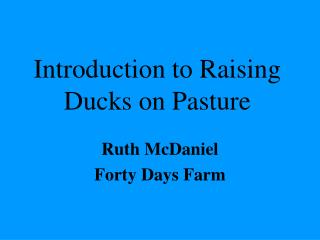 Introduction to Raising Ducks on Pasture