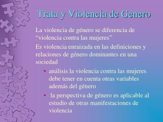 Trata y Violencia de G�nero
