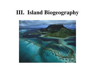 III.  Island Biogeography