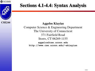 Sections 4.1-4.4: Syntax Analysis