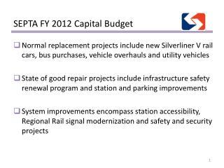 SEPTA FY 2012 Capital Budget