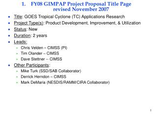 FY08 GIMPAP Project Proposal Title Page revised November 2007