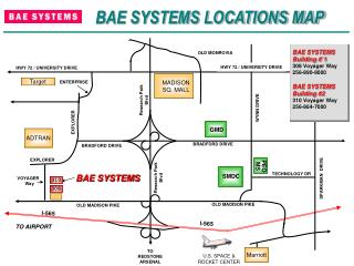 BAE SYSTEMS LOCATIONS MAP