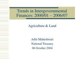 Trends in Intergovernmental Finances: 2000/01 – 2006/07