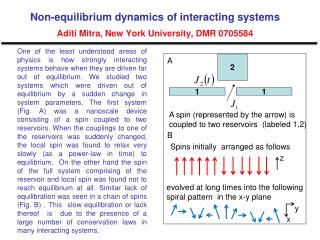 Non-equilibrium dynamics of interacting systems Aditi Mitra, New York University, DMR 0705584