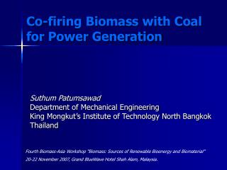 Co-firing Biomass with Coal for Power Generation