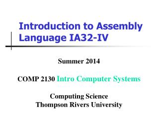 Introduction to Assembly Language IA32-IV