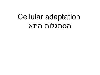 Cellular adaptation  הסתגלות התא