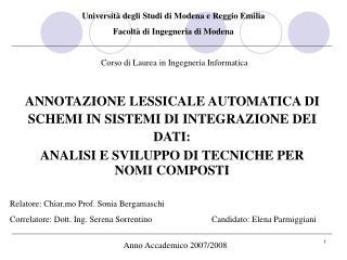 Università degli Studi di Modena e Reggio Emilia  Facoltà di Ingegneria di Modena