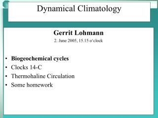 Dynamical Climatology