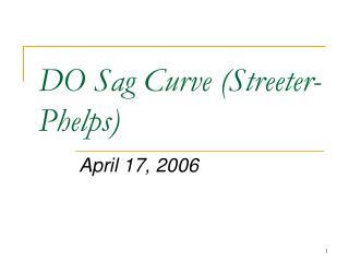 DO Sag Curve Streeter-Phelps