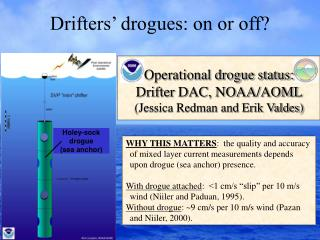 Drifters' drogues: on or off?