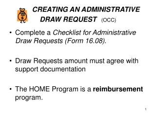 CREATING AN ADMINISTRATIVE DRAW REQUEST (OCC)