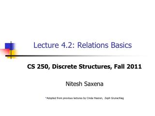 Lecture 4.2: Relations Basics