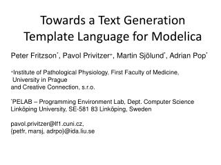 Towards a Text Generation Template Language for Modelica