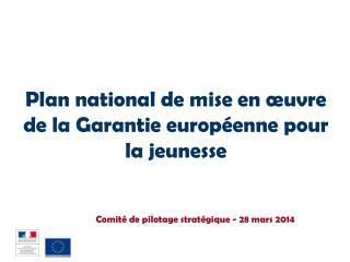Plan national de mise en œuvre de la Garantie européenne pour la jeunesse