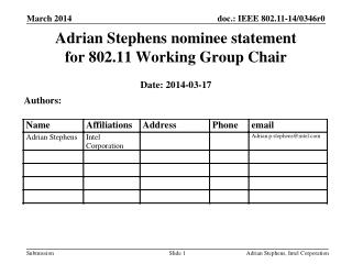 Adrian Stephens nominee statement for 802.11 Working Group Chair