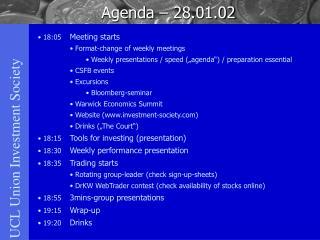 Agenda – 28.01.02