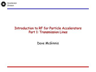 Introduction to RF for Particle Accelerators Part 1: Transmission Lines