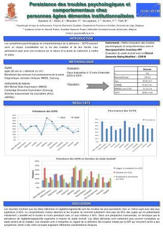 -Evaluation: -Deux évaluations à 12 mois d'intervalle (2003 & 2004) - Population: