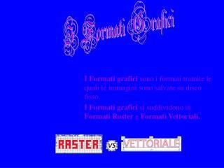 I Formati grafici  sono i formati tramite le quali le immagini sono salvate su disco fisso.