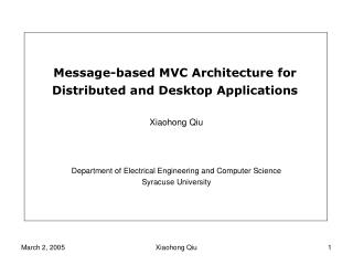 Message-based MVC Architecture for Distributed and Desktop Applications