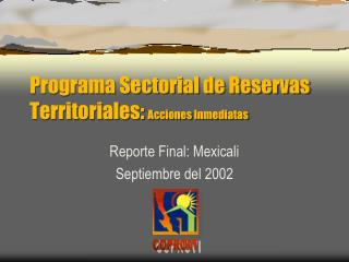 Programa Sectorial de Reservas Territoriales:  Acciones  I nmediatas