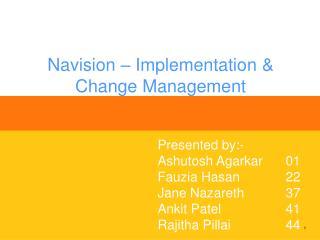 Navision – Implementation & Change Management