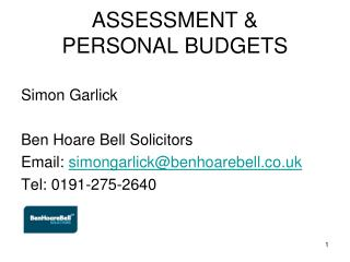 ASSESSMENT &  PERSONAL BUDGETS