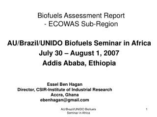 Biofuels Assessment Report - ECOWAS Sub-Region