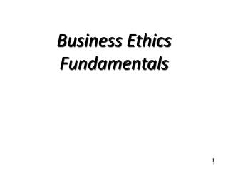 Business Ethics Fundamentals