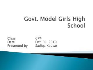 Govt. Model Girls High School