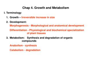 Chap 4. Growth and Metabolism