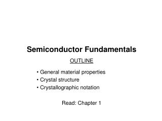 Semiconductor Fundamentals
