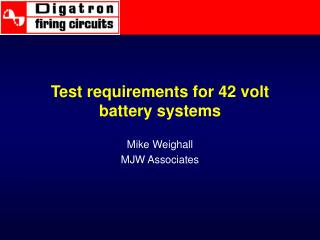 Test requirements for 42 volt battery systems