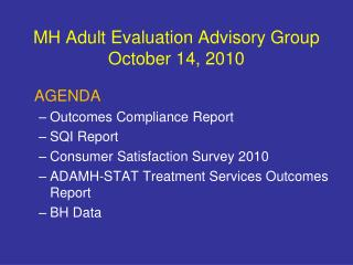 MH Adult Evaluation Advisory Group October 14, 2010