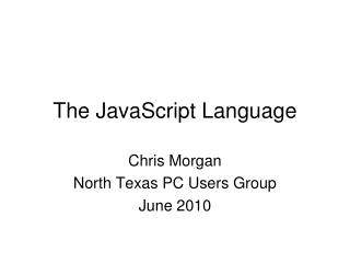 The JavaScript Language