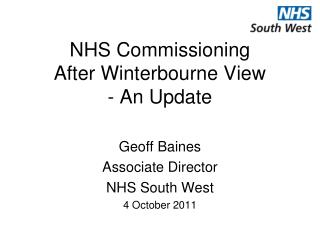 NHS Commissioning After Winterbourne View - An Update