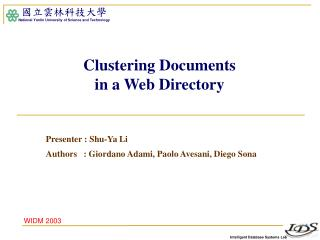 Clustering Documents in a Web Directory