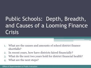 Public Schools:  Depth, Breadth, and Causes of a Looming Finance Crisis