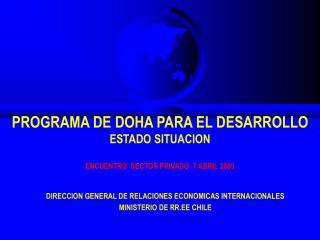 PROGRAMA DE DOHA PARA EL DESARROLLO ESTADO SITUACION  ENCUENTRO  SECTOR PRIVADO, 7 ABRIL 2005