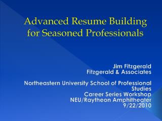 Advanced Resume Building for Seasoned Professionals