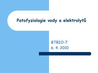 Patofyziologie vody a elektrolytů