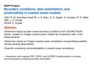 NOPP Project:  Boundary conditions, data assimilation, and predictability in coastal ocean models
