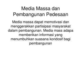 Media Massa dan Pembangunan Pedesaan