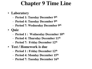 Chapter 9 Time Line