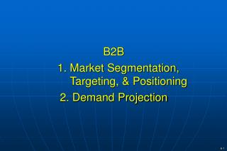 B2B     1. Market Segmentation,    Targeting, & Positioning 2. Demand Projection