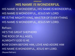 OFFERTORY HIS NAME IS WONDERFUL