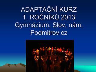 ADAPTAČNÍ KURZ  1.  ROČNÍKŮ 2013  Gymnázium, Slov. nám. Podmitrov.cz