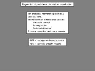 Regulation of peripheral circulation: introduction
